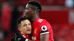 Manchester United's Alexis Sanchez and Paul Pogba. Photo: Reuters/Scott Heppell