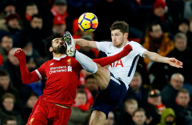 Tottenham's Ben Davies in action with Liverpool's Mohamed Salah. Photo: Reuters/Carl Recine