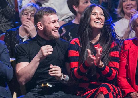 Conor McGregor with his partner Dee Devlin in the crowd. Photo: Kyran O'Brien