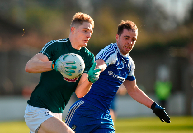 Daniel Flynn of Kildare in action against Conor Boyle of Monaghan. Photo: Sportsfile