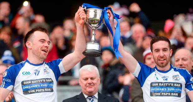 Danny Cooper and Knocknagree captain Matthew Dilworth celebrate. Photo by Piaras Ó Mídheach/Sportsfile