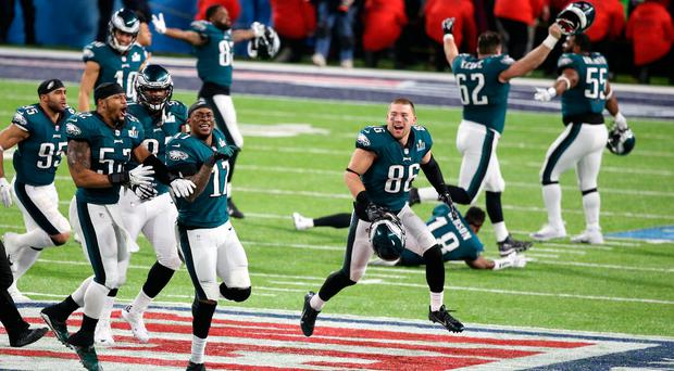 The Philadelphia Eagles celebrate after defeating the New England Patriots in Super Bowl LII at U.S. Bank Stadium. Photo: Charles LeClaire-USA TODAY Sports
