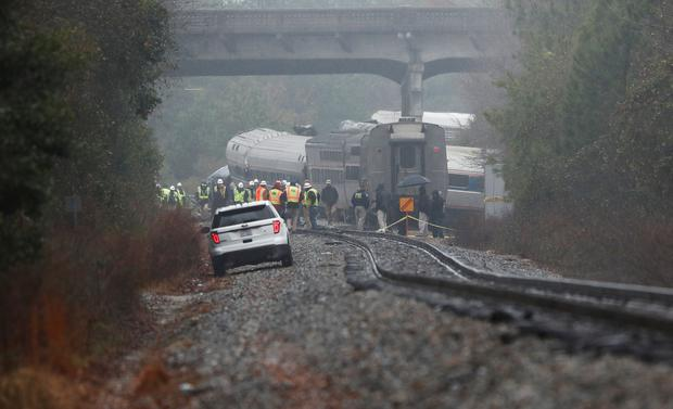 Emergency responders are at the scene after an Amtrak passenger train collided with a freight train and derailed in Cayce, South Carolina, U.S., February 4, 2018. REUTERS/Randall Hill