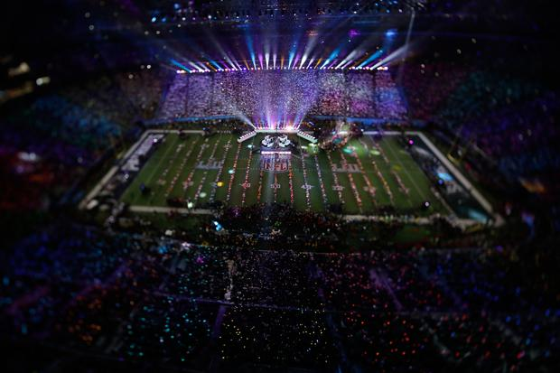 In this picture made with a specialty lens Justin Timberlake performs during halftime of the NFL Super Bowl 52 football game Sunday, Feb. 4, 2018, in Minneapolis. (AP Photo/Morry Gash)