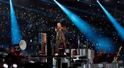NFL Football - Philadelphia Eagles v New England Patriots - Super Bowl LII Halftime Show - U.S. Bank Stadium, Minneapolis, Minnesota, U.S. - February 4, 2018 Justin Timberlake performs during the halftime show REUTERS/Kevin Lamarque