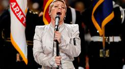 NFL Football - Philadelphia Eagles v New England Patriots - Super Bowl LII - U.S. Bank Stadium, Minneapolis, Minnesota, U.S. - February 4, 2018 Pink performs the national anthem before the game REUTERS/Kevin Lamarque