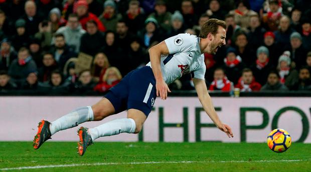 Tottenham's Harry Kane is fouled for a penalty
