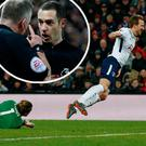 Harry Kane goes down in the box and (inset) Jonathan Moss speaks with the linesman before awarding a penalty to Tottenham