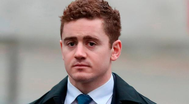 Ireland and Ulster rugby player Paddy Jackson arrives at Belfast Crown Court. Photo: Niall Carson/PA Wire