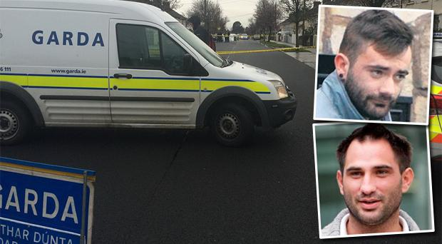 Mr Big's gang is said to have been behind the killings of Vincent Ryan (top right) and his brother Alan Ryan. Pictured is the scene at McKee Road in Finglas where Vincent was shot dead