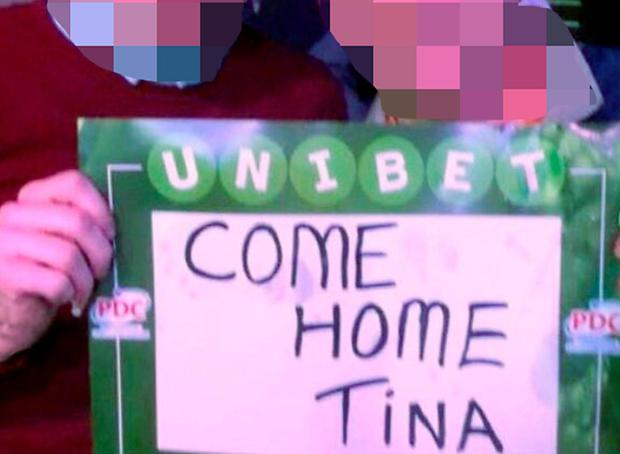 The sign two gardaí were alleged to have held at a darts match