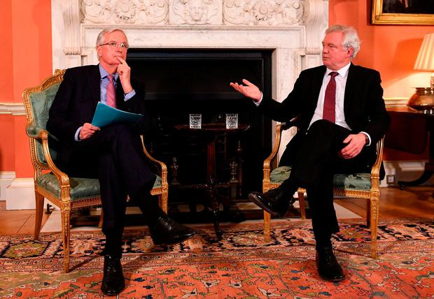 EU's lead negotiator Michel Barnier, (L) and Brexit Secretary David Davis meet for talks in Downing Street. Photo: Stefan Rousseau - WPA Pool/Getty Images