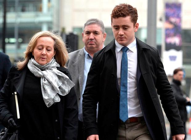 Ireland rugby star Paddy Jackson arrives at Laganside Magistrates Court for the second week of his trial. Photo: Pacemaker