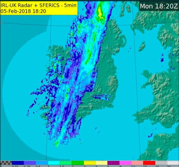 The thin band of sleet and snow was moving across the country yesterday evening. Photo: Met Éireann