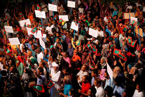Opposition supporters protest against the government's delay in releasing their jailed leaders, including former president Mohamed Nasheed, despite a Supreme Court order, in Male, Maldives, February 4, 2018. Pictures taken February 4, 2018. REUTERS/Stringer