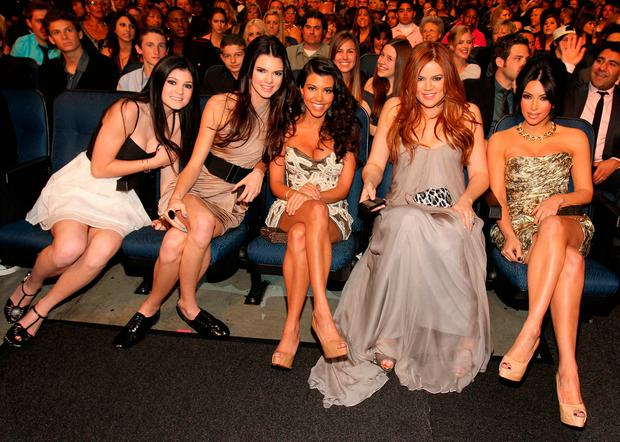 (L-R) TV personalities Kylie Jenner, Kendall Jenner, Kourtney Kardashian, Khloe Kardashian and Kim Kardashian attend the 2011 People's Choice Awards at Nokia Theatre L.A. Live on January 5, 2011 in Los Angeles, California. (Photo by Christopher Polk/Getty Images for PCA)
