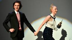 Timothee Chalamet and Saoirse Ronan onstage at the Santa Barbara Award Honoring Saoirse Ronan Presented By UGG during The 33rd Santa Barbara International Film Festival at Arlington Theatre on February 4, 2018 in Santa Barbara, California. (Photo by Matt Winkelmeyer/Getty Images for SBIFF)