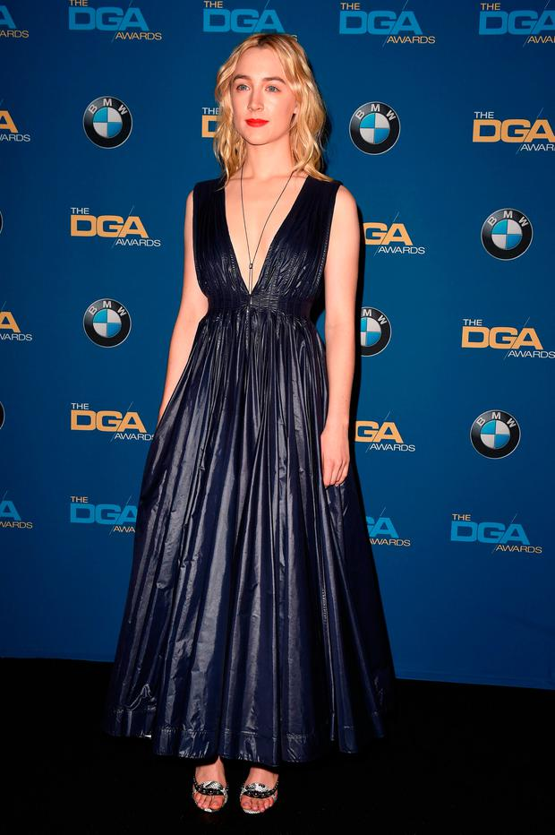 Actress Saoirse Ronan poses in the press room at the 2018 DGA Awards at the Beverly Hilton, on February 3, 2018, in Beverly Hills, California. / AFP PHOTO / ROBYN BECKROBYN BECK/AFP/Getty Images