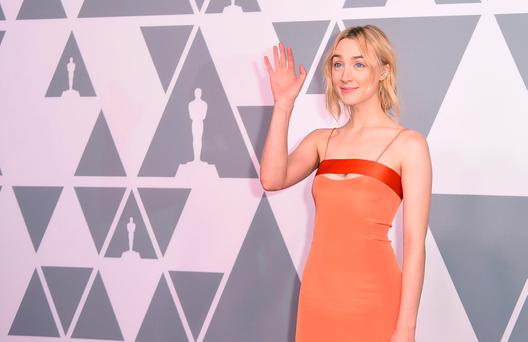 Actress Saoirse Ronan arrives for the Annual Academy Awards Nominee Luncheon at the Beverly Hilton Hotel in Beverly Hills, California, on February 5, 2018. / AFP PHOTO / Robyn BeckROBYN BECK/AFP/Getty Images