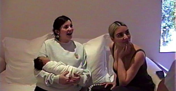 Kylie Jenner with baby Chicago and sister Kim Kardashian. Picture: Kylie Jenner/YouTube