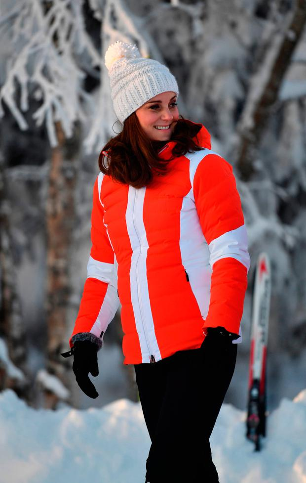 The Duchess of Cambridge attends an event in Tryvann, Oslo, Norway, organised by the Norwegian Ski Federation, where she and the Duke of Cambridge saw a group of local nursery children taking part in an afternoon ski school session on the slopes, on the final day of their tour of Scandinavia