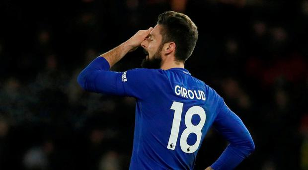 Chelsea's Olivier Giroud looks dejected after the match
