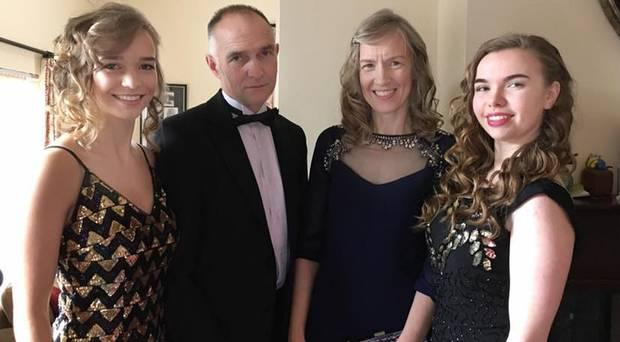 Alistair Sloss with wife Roberta and daughters Rebekah and Sarah. Image: Belfast Telegraph.