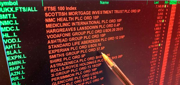 A screen showing the prices on the London Stock Exchange turns red as the FTSE 100 Index crashed on opening by more than 230 points to 7,104.94 as inflation fears continue to rock global markets Credit: PA Wire