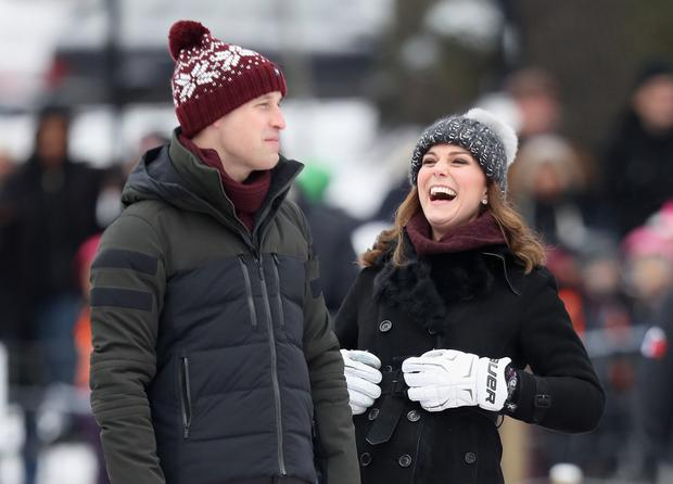 Prince William, Duke of Cambridge and Catherine, Duchess of Cambridge laugh as they attend a Bandy hockey match where they will learn more about the popularity of the sport during day one of their Royal visit to Sweden and Norway on January 30, 2018 in Stockholm, Sweden. (Photo by Chris Jackson/Getty Images)