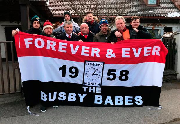 Denis Irwin with members of the MUFC Leicestershire Supporters' Club for 60 Years Since The Munich Air Disaster commemorative event in Munich. PRESS ASSOCIATION Photo. Picture date: Tuesday February 6, 2018. See PA story SOCCER Man Utd. Photo credit should read: Mark Mann-Bryans/PA Wire.