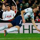 Harry Kane goes to ground at Anfield and (inset) Dele Alli is booked for diving