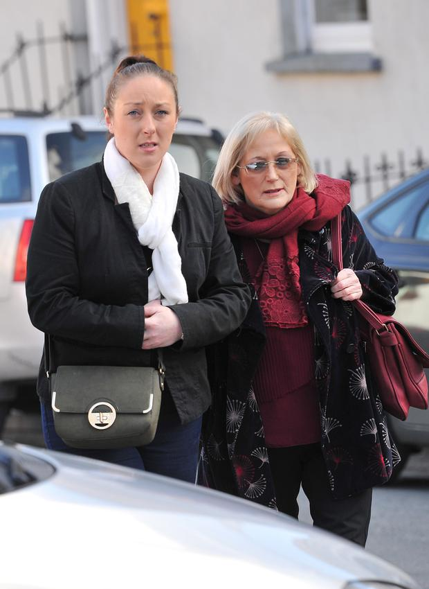 Sarah Kidney pictured with her mother Carmel at Bandon courthouse for the inquest into the death of Alan Kidney. Pic Cork Courts Limited