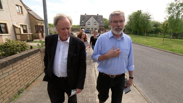 Vincent Browne, left, has known Gerry Adams for more than 40 years and was a regular visitor to Belfast during the Troubles