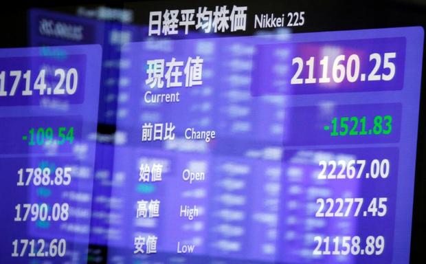 An electronic board showing the Nikkei share average is seen as market prices are reflected in a glass window at the Tokyo Stock Exchange (TSE) in Tokyo, Japan, February 6, 2018. REUTERS/Toru Hanai