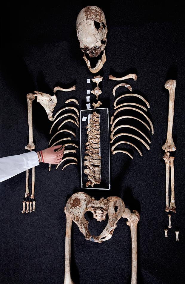 Handout picture from The Trustees of the Natural History Museum, London, of Britain's oldest complete skeleton which has been used as the basis for the facisl reconstruction in Channel 4's programme The First Brit: Secrets Of The 10,000 Year Old Man. Photo: © The Trustees of the Natural History Museum, London / PA Wire.