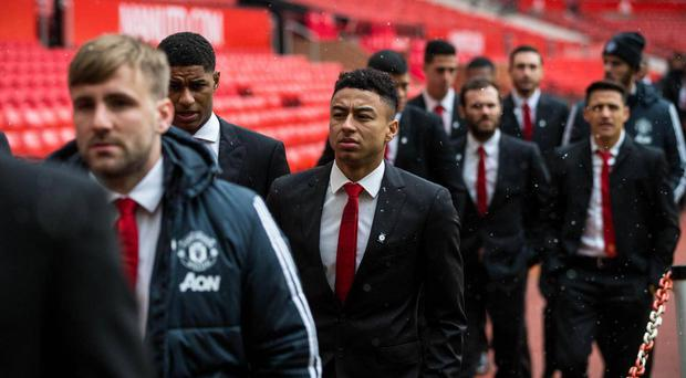 Lingard attended the service with his Manchester United teammates. Getty
