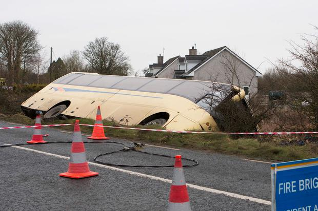 A school bus crashed near Caherconlish in Co Limerick. Photograph: Press 22