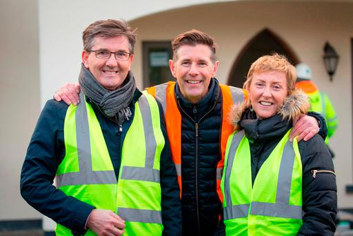 Dermot Bannon from RTE's Room to Improve with Daniel and Majella O'Donnell, in Meenbanad, Co. Donegal. Photo: James Connolly