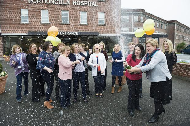 The Lovely Ladies Syndicate from Portiuncula Hospital who scooped €500,000 between then in the EuroMillions Plus draw celebrate their win