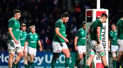 2 February 2018; Dejected Ireland players after the U20 Six Nations Rugby Championship match between France and Ireland at the Stade Amédée Domenech in Brive, France. Photo by Manuel Blondeau/Sportsfile