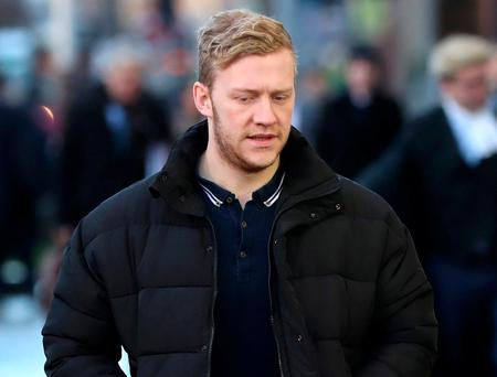 Ulster and Ireland rugby player Stuart Olding pictured as he arrives at Laganside court for his trial where he and teammate Paddy Jackson are standing after being accused of raping the same woman in Belfast in June 2016.