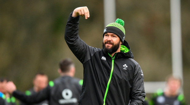 30 January 2018; Defence coach Andy Farrell during Ireland rugby squad training at Carton House in Maynooth, Co Kildare. Photo by Ramsey Cardy/Sportsfile