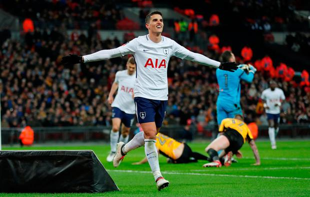Soccer Football - FA Cup Fourth Round Replay - Tottenham Hotspur vs Newport County - Wembley Stadium, London, Britain - February 7, 2018 Tottenham's Erik Lamela celebrates scoring their second goal REUTERS/Eddie Keogh