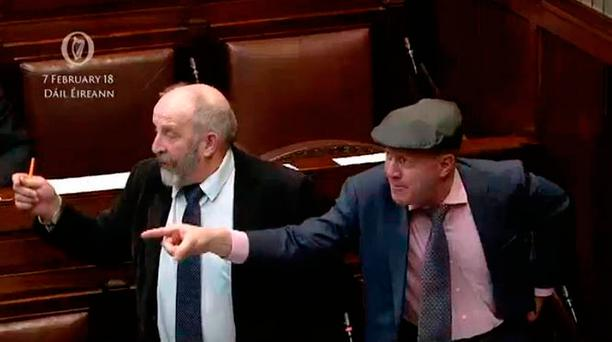 Michael (right) and Danny Healy-Rae in the Dáil yesterday