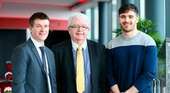 Conor Molumby (left) from Stillorgan who was awarded the Veronica Guerin Memorial Scholarship pictured with Martin Guerin, brother of Veronica Guerin and his son Ian at the ceremony in DCU. Photo: Frank McGrath