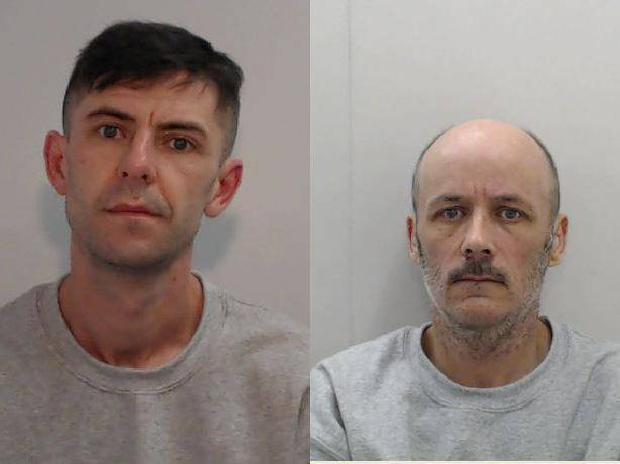 Paul Hands, left, recruited friends including Darren Barnfather to attack the dog walker Greater Manchester Police