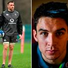 Jack Conan (left) will start with Joey Carbery (centre) and Jordan Larmour (right) to feature from the bench