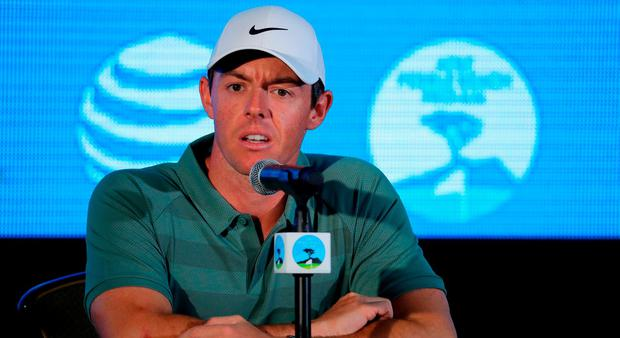 Rory McIlroy of Northern Ireland addresses a press conference ahead of the AT&T Pebble Beach Pro-Am on the Pebble Beach Golf Links