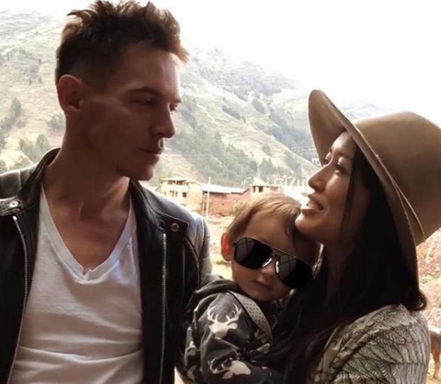 Mara Lane with husband Jonathan Rhys Meyers and baby son Wolf. Picture: Instagram