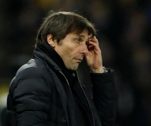 Chelsea boss Antonio Conte can't hide the strain during Monday's shock loss to Watford. Photo: David Klein